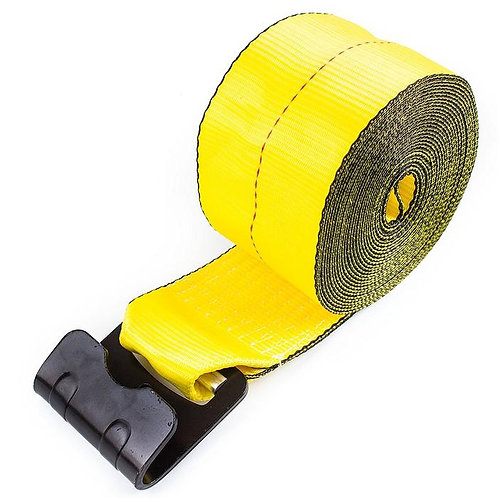 """4"""" x 30 ft yellow Winch Strap with Flat Hook"""