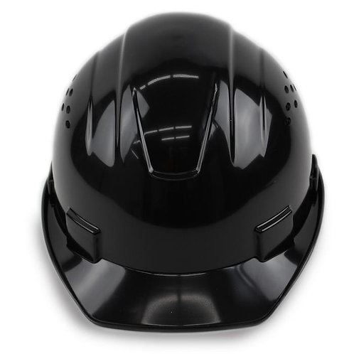 Cap Style Hard Hat with 4 Point Ratchet Suspension (Black)