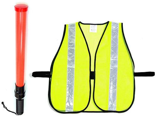 Safety Vest with Reflective Stripes & Traffic Baton LED Flashlight C