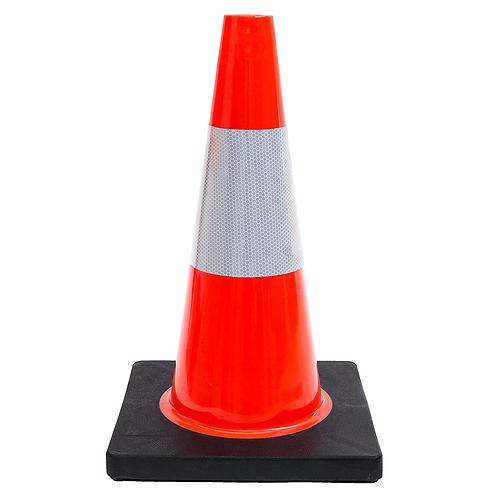 "18"" PVC Traffic Safety Cone, One Reflective Collar, Black Base - Orange"