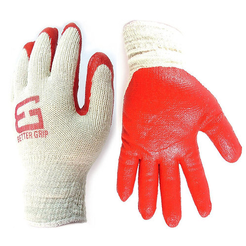 Better Grip String Knit Red Palm Latex Double Dipped Glove