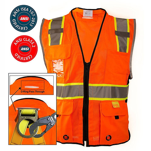 Hi-Viz Two Tone Safety Mesh Vest Class 2 D-Ring
