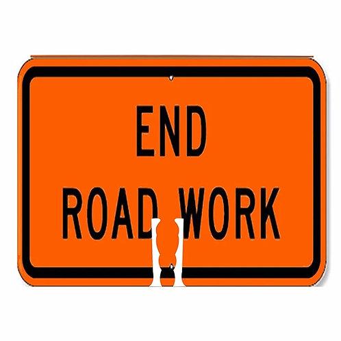"18""w x 14""h Traffic Cone Sign ""End Road Work"" Black on Orange"