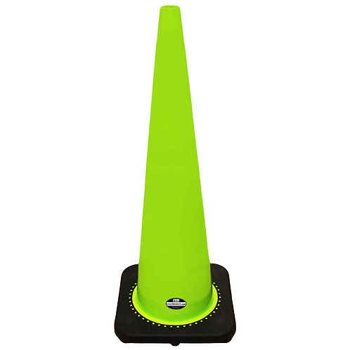 """36"""" Safety Traffic PVC Cones with Black Base - Green"""