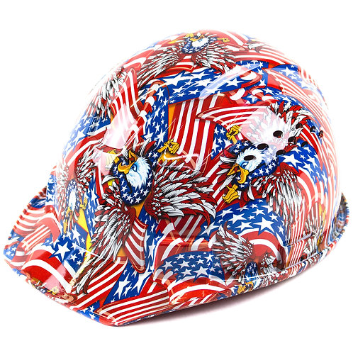 Cap Style Hard Hat with 4 Point Ratchet Suspension (Flag Design)