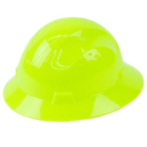Brim Style Hard Hat with 4 Point Patchet Suspension (Hi-Viz Green)