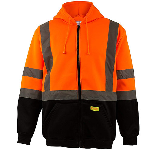 Hi-Viz Workwear Sweatshirt, Full Zip Hooded, Black Bottom, Fleece