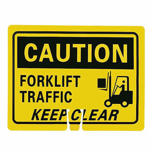 "18""w x 14""h Traffic Cone Sign ""Caution Forklift Traffic"" Black on Yellow"