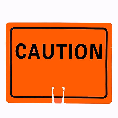 "18""w x 14""h Traffic Cone Sign ""Caution"" Black on Orange"