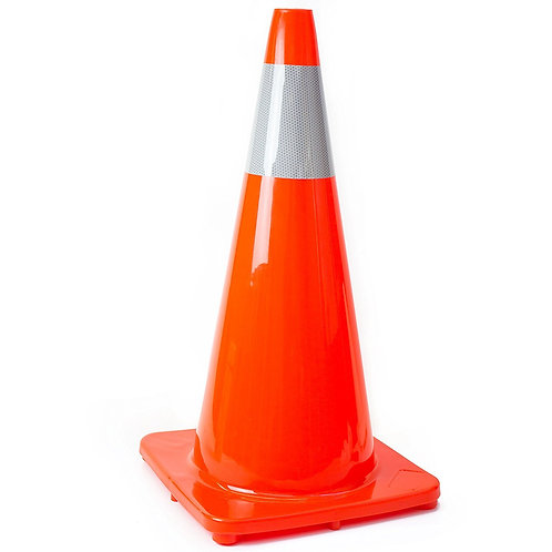 "28"" Safety Traffic PVC Cones, Orange Base with One Reflective Collar - Orange"