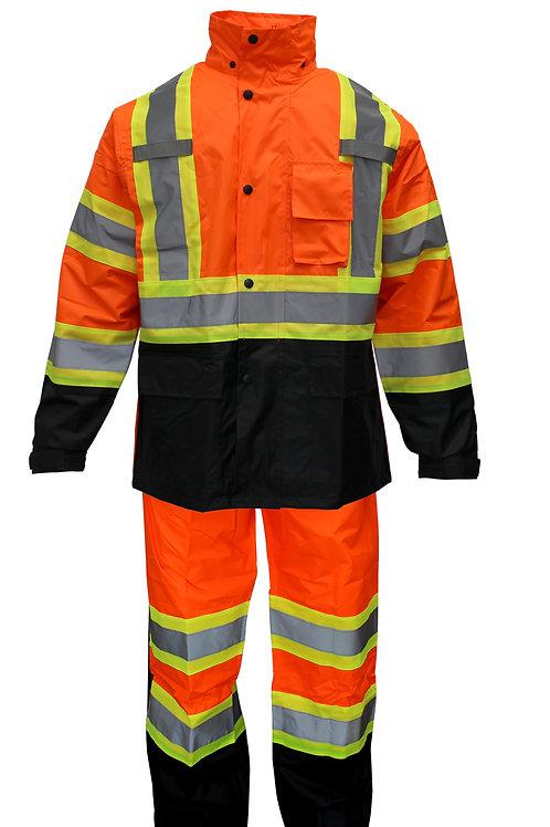 Rain Suit Jacket, Pants High Vix Reflective Black Bottom with X Pattern