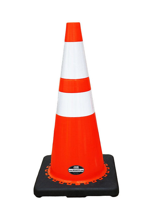 "28"" Safety Traffic PVC Cones, Two Reflective Collar with Black Base - Orange"
