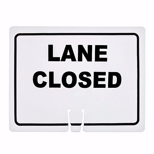 "18""w x 14""h Traffic Cone Sign ""Lane Closed"" Black on White"