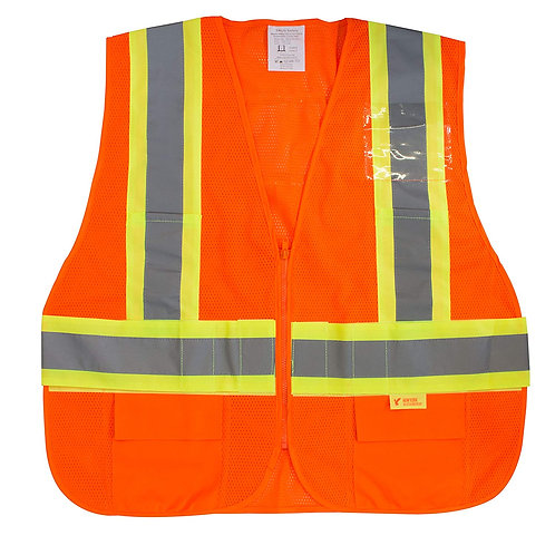 Hi-Viz Safety Vest with Reflective Strips and Pockets - ANSI/ISEA Class 2