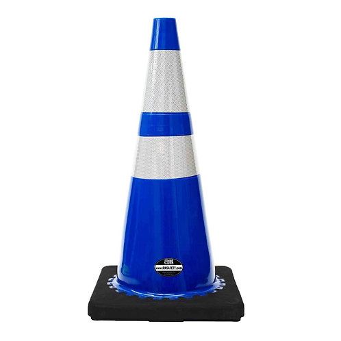 "28"" Safety Traffic PVC Cones, 6"" + 4"" Reflective Collars with Black Base"