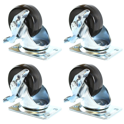 """2"""" Low Profile Hard Rubber Wheel Swivel Plate Casters with Brake"""