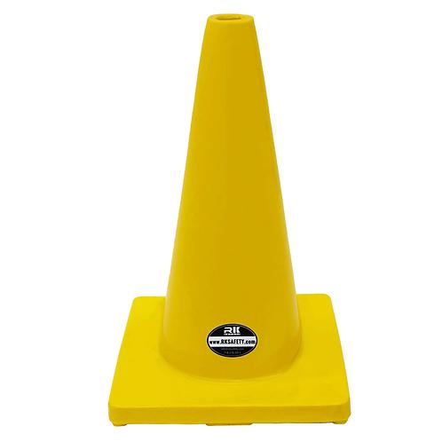 "18"" PVC Traffic Safety Cones, Plain - Yellow"