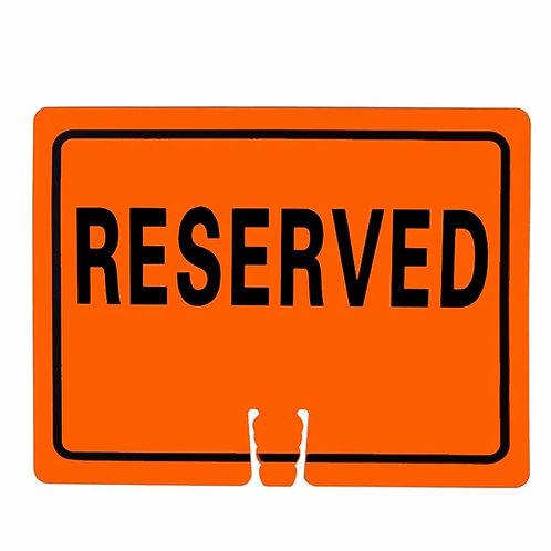 "18""w x 14""h Traffic Cone Sign ""Reserved"" Black on Orange"