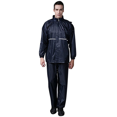 Premium Men's Waterproof Hooded Rain Suit, Reflective Strip