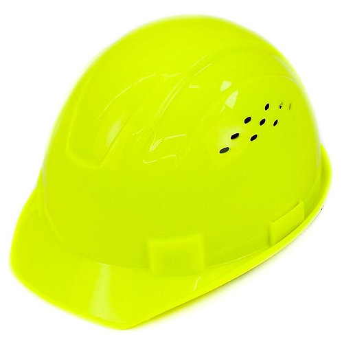 Cap Style Hard Hat with 4 Point Ratchet Suspension (Hi-Viz Green)