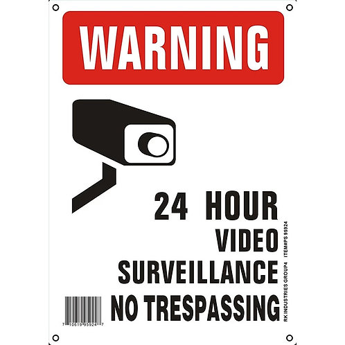 "OSHA Safety Sign, Legend ""Warning 24 Hour Video Surveillance No Trespassing"""