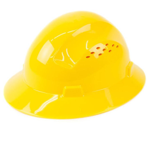 Brim Style Hard Hat with 4 Point Patchet Suspension (Yellow)