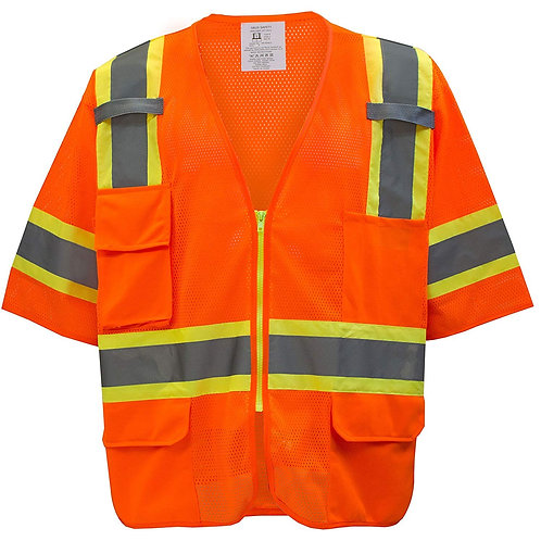 Hi-Viz Two Tone Reflective Strips Breathable Mesh Vest ANSI/ISEA Class 3