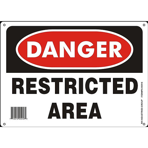 "OSHA Safety Sign, Legend ""Danger Restricted Area"""