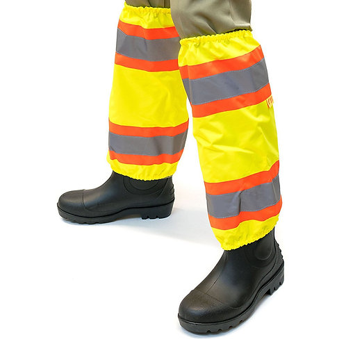 Hi-Viz Contrasting Trim Leg Gaiters Polyester oxford w/ PU Coating  - Lime