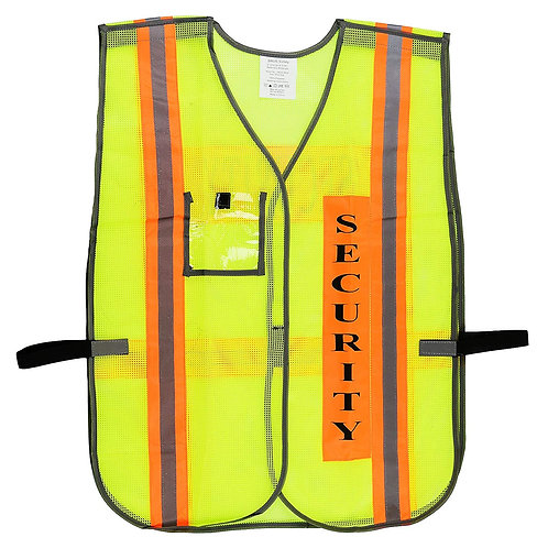 Security Safety Vest with Reflective Stripes with Clear Plastic ID Pocket