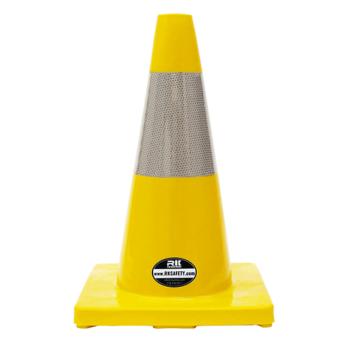 """18"""" PVC Traffic Safety Cones, Orange Base with One Reflective Collar - Yellow"""