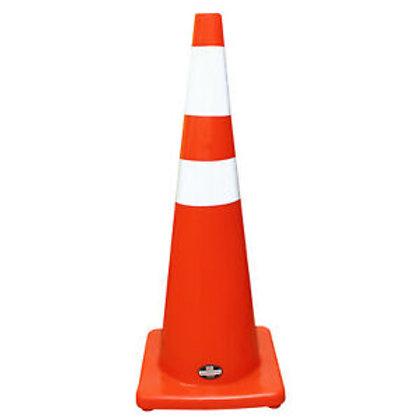 "36"" Safety Traffic PVC Cones with 6"" + 4 "" Reflective Collar, Orange Base"
