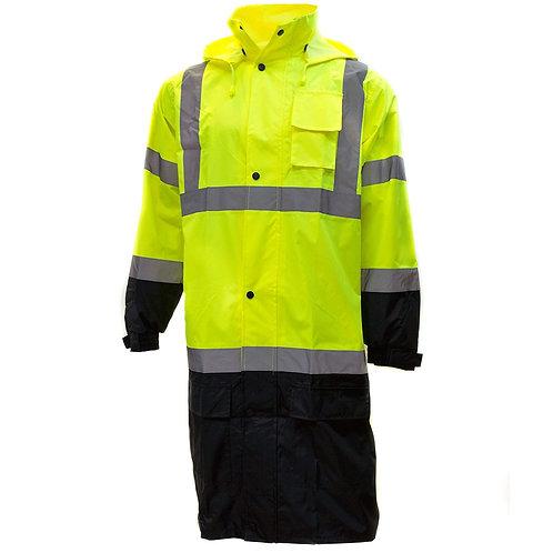 Hi-Viz Rainwear Reflective Black Bottom Long Rain Coat