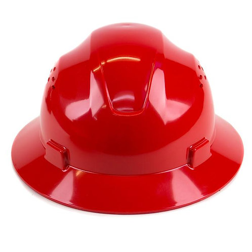 Brim Style Hard Hat with 4 Point Patchet Suspension (Red)