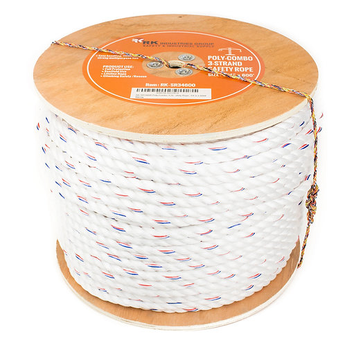 """Poly-Combo 3 Strand Safety Rope, 3/4"""" x 600 ft"""