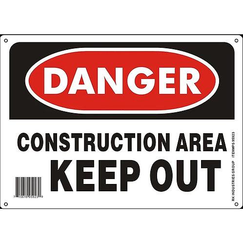 "OSHA Safety Sign, Legend ""Danger Construction Area Keep Out"""