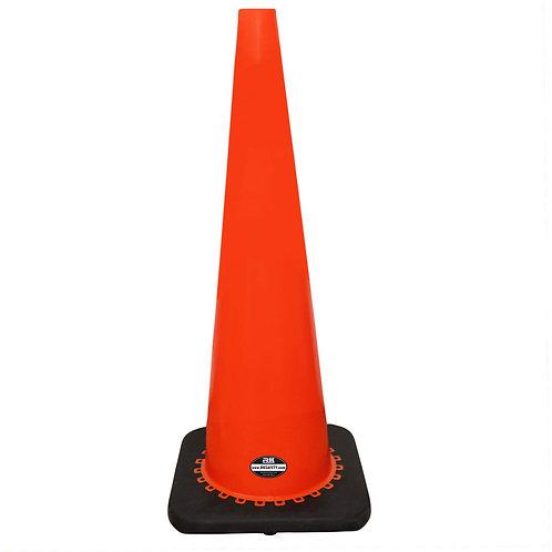 "36"" Safety Traffic PVC Cones with Black Base - Orange"