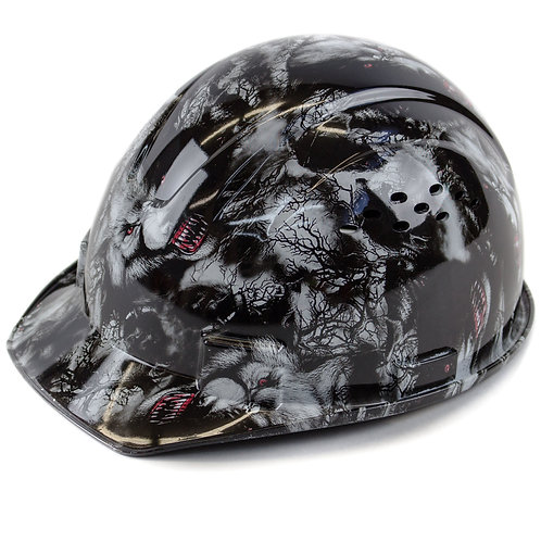 Cap Style Hard Hat with 4 Point Ratchet Suspension (Wolves Design)