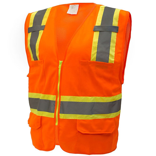 Hi-Viz Two Tone Safety Vest with Reflective Strips and Pockets ANSI/ISEA Class 2