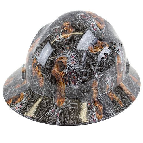 Brim Style Hard Hat with 4 Point Patchet Suspension (Skull Design)