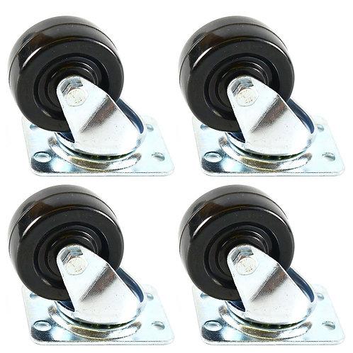 """2"""" Low Profile Hard Rubber Wheel Swivel Plate Casters"""