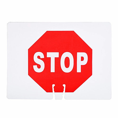 "18""w x 14""h Traffic Cone Sign ""Stop"" Red on White"