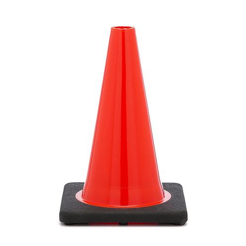 "18"" PVC Traffic Safety Cone, Black Base - Orange"