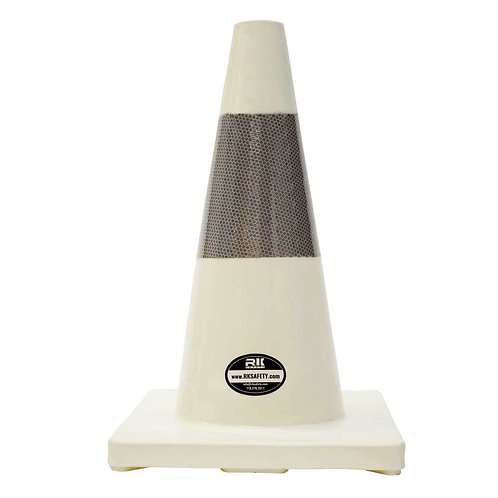 "18"" PVC Traffic Safety Cones, Orange Base with One Reflective Collar - White"