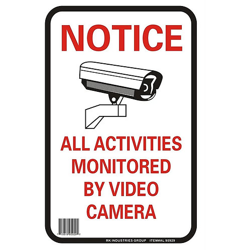 "OSHA Safety Sign, Legend ""Notice All Activities Monitored by Video Camera"""