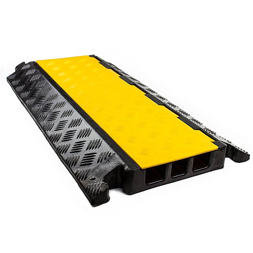 3 Channel Modular Rubber Cable Protector Ramp - Straight