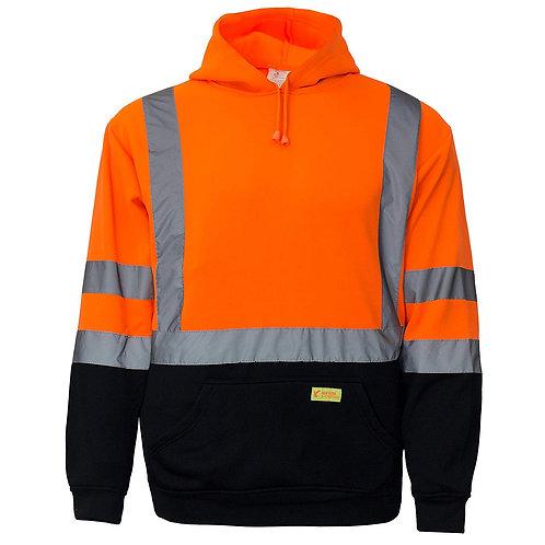 Hi-Viz Workwear Sweatshirt, Hooded Pullover, Knit Lining, Black Bottom