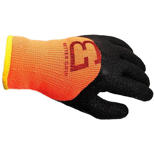 Winter Insulated Double Lining Rubber Latex 3/4 Coated Work Gloves - Orange
