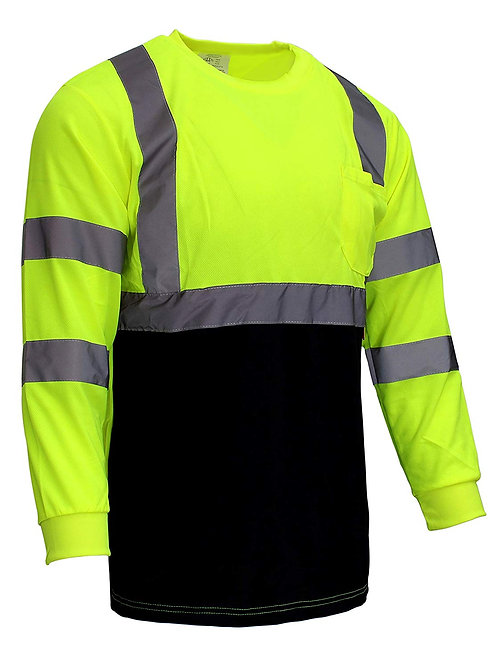 Hi-Viz Class 3 Long Sleeve T Shirt with Moisture Wicking Mesh