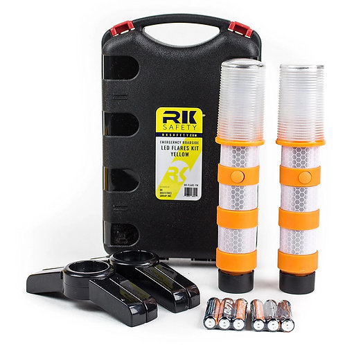 Reusable LED Emergency Roadside 2 Beacon Flares Kits - Orange